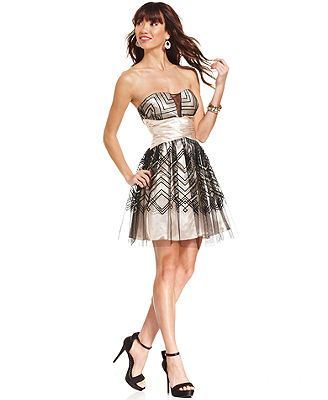 Hailey Logan Juniors' Strapless Striped A-Line Dress Love this dress for prom and military ball