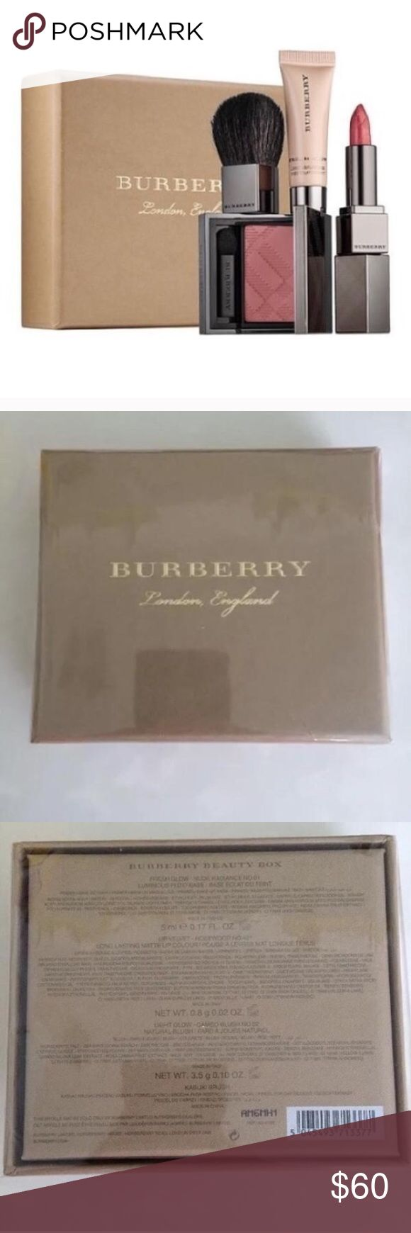 Burberry set What it is:  An exclusive makeup starter kit with Burberry's runway makeup icons—from Fresh Glow Luminous Fluid Base to a mini Kabuiki Brush.   This set contains:  - 0.17 oz Fresh Glow Luminous Fluid Base in Nude Radiance No. 01  - 0.035 oz Lip Velvet Lipstick in Rosewood No. 421  - 0.08 oz Light Glow - Natural Blush in Cameo Blush No. 02  - Kabuki Brush (mini size). NEW IN BOX SEALED Burberry Makeup