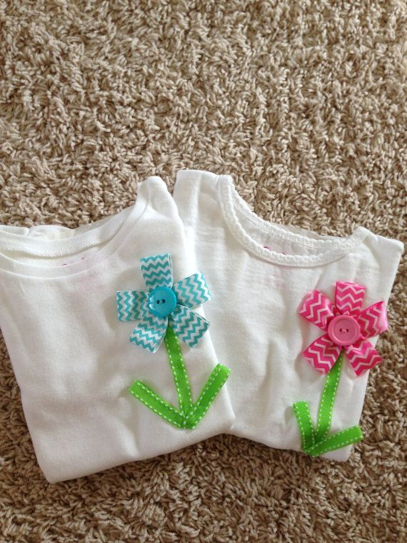Flower Ribbon Button Shirt / tee  toddler by RileyandCarole, $17.00