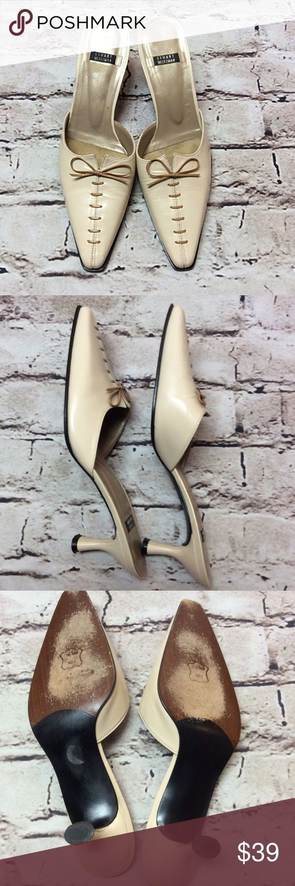 """STUART WEITZMAN BONE COLOR SLIDE IN HEELS/SHOES Classy slides with a closed toe and lacing on the top. All leather including sole with a couple of small marks on the heels and at the bottom of soles at the toes. Not noticeable when wearing. Zoom in on pics. 2.5"""" heel Stuart Weitzman Shoes Heels"""