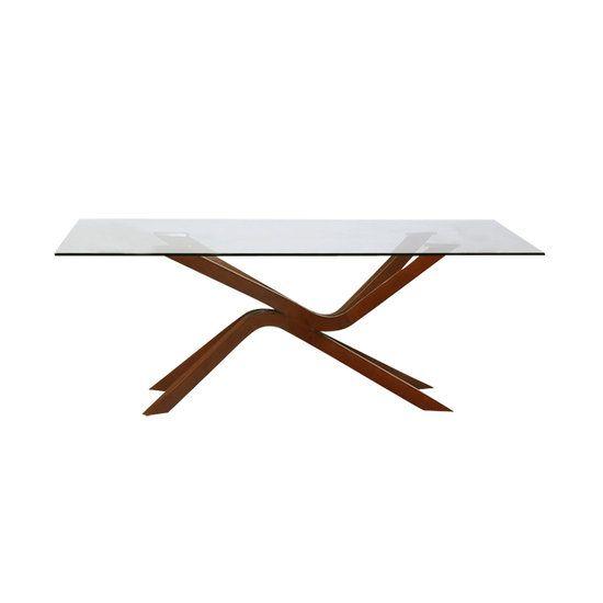 Eettafel Flow walnoten met glas. Prachtige retro design eettafel. Het massief houten onderstel heeft een vloeiende vorm en je raakt hier nooit op uitgekeken. De retro eettafel Flow wordt verkocht door https://www.meubelen-online.nl/Eettafel-Flow-glas-met-hout-200cm