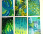 RESERVED for Michelle - Abstract Beauty Beneath FREE SHIPPING Impasto Turquoise Teal Lime Green Mustard Yellow Lilac 8 x 10. $75.00, via Etsy.