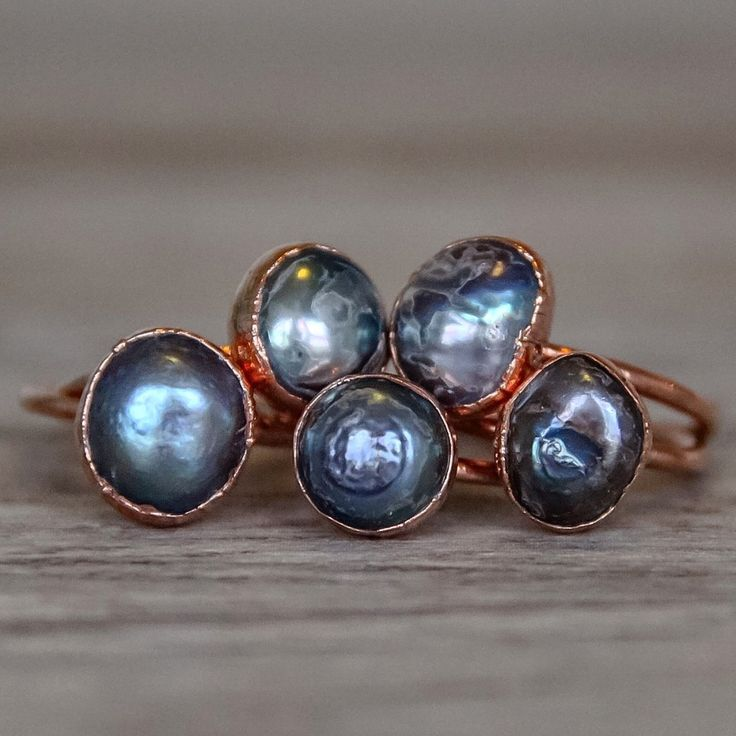Natural Black Pearl and Copper Ring | Bohemian Gypsy Jewelry | Indie and Harper
