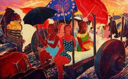 """""""Sombrillas"""" Herminio Pedraza Oil on Canvas"""