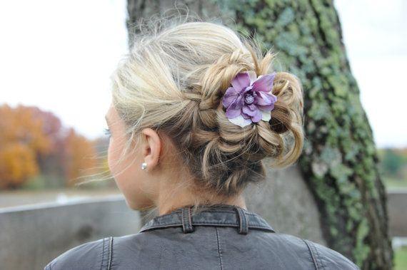 Purple lavender  delphinium flower clip with Swarovski crystal embellishment by LavenderRoseAcc, hair accessories, bridesmaids, flower girls, brides, prom, wedding guest