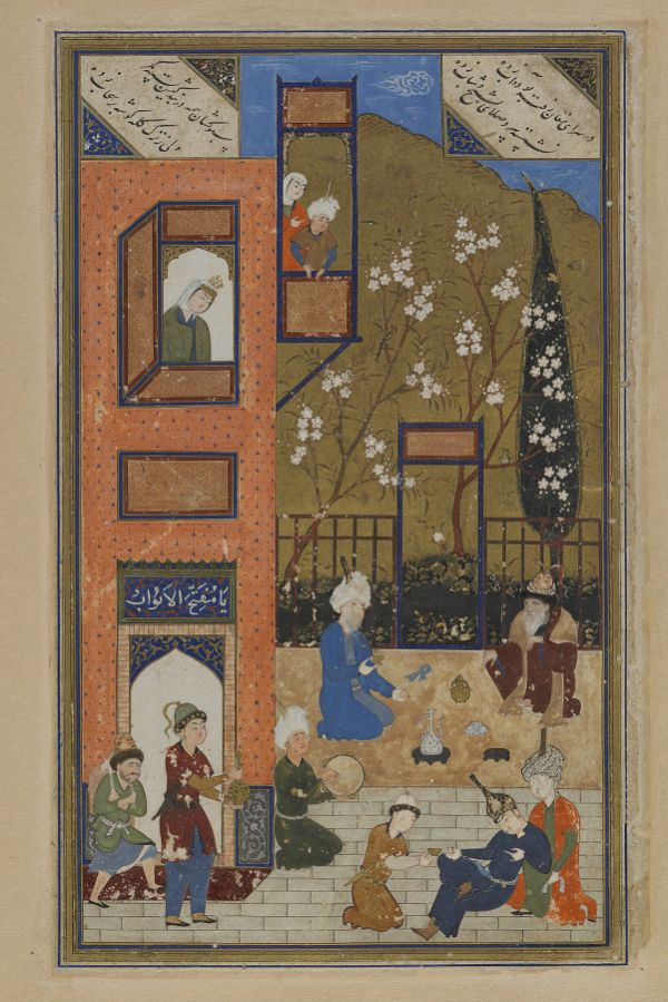 Folio from a Divan (collected poems) by Hafiz (d. 1390); recto: wine shop; verso: text  TYPE Detached manuscript folio MAKER(S) Calligrapher: Sultan Muhammad Nur Artist: Shaykhzade HISTORICAL PERIOD(S) Safavid period, 1523-24 (930 A.H.) MEDIUM Opaque watercolor, ink, gold and silver on paper DIMENSION(S) H x W (overall): 30 x 18.7 cm (11 13/16 x 7 3/8 in) GEOGRAPHY Afghanistan, Herat