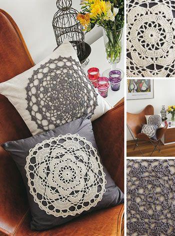 01 - Almohadones con centro tejido - Puntillas - Crochet