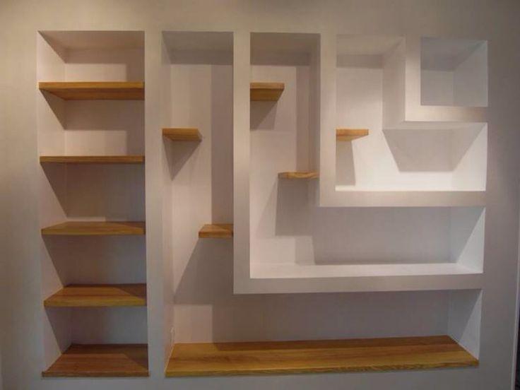 Libreria a muro, cartongesso e legno