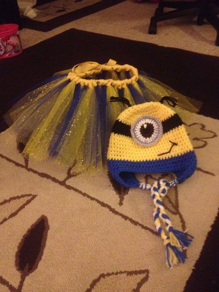 Minion tutu skirt and crochet hat