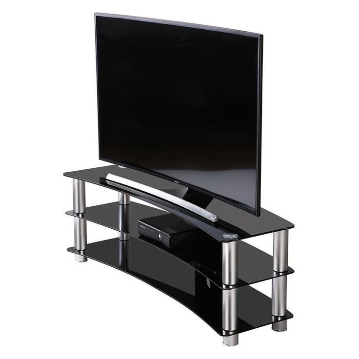 Fitueyes TV Stand Entertainment Center Media Furniture fit Curved Screen Tvs Curved Tempered Glass TV Stand up to 65inch LCD LED OLED Flat Panel & Curved TV's, Load 120 Lbs, Black-TS313001GB