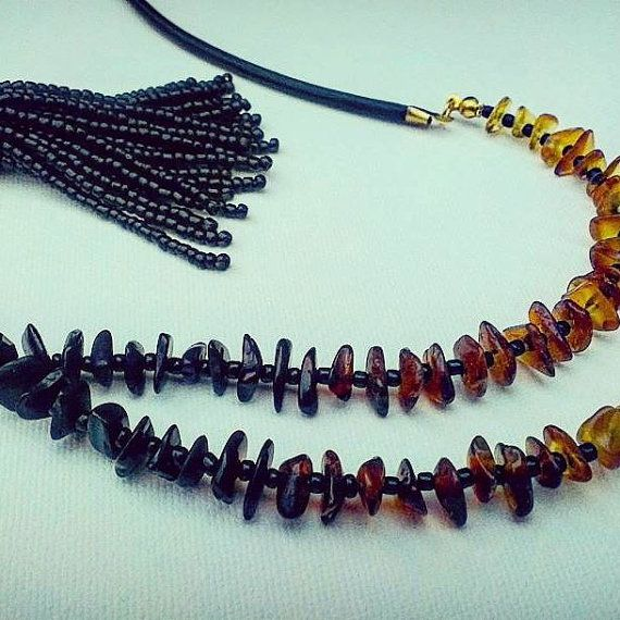 Long natural Baltic amber necklace Black glass by VidasJewels
