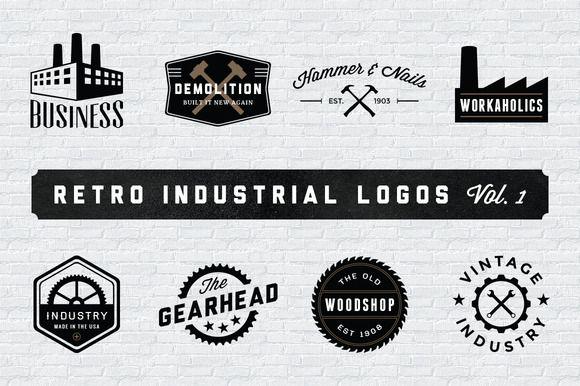 Retro Industrial Logos - Volume 1 by Adrian Pelletier on Creative Market