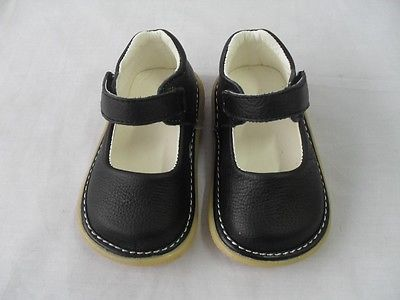 New Black Leather Squeaky Shoes Toddler Baby Girl Size 3 4 ...