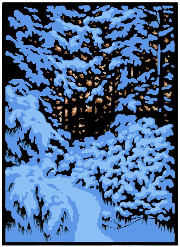 WINTER WOODS III Limited Edition Block Print by Laura Wilder