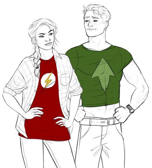 Artemis Crook and Wally West by murrmernator.