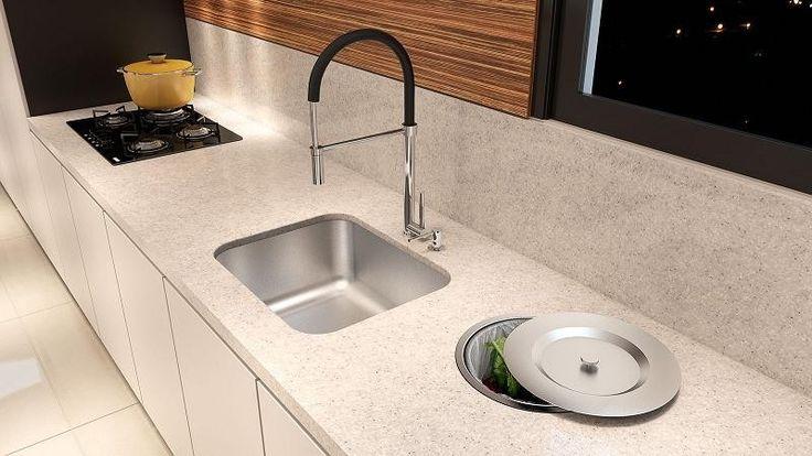 Cozinha de granito branco com lixeira embutida