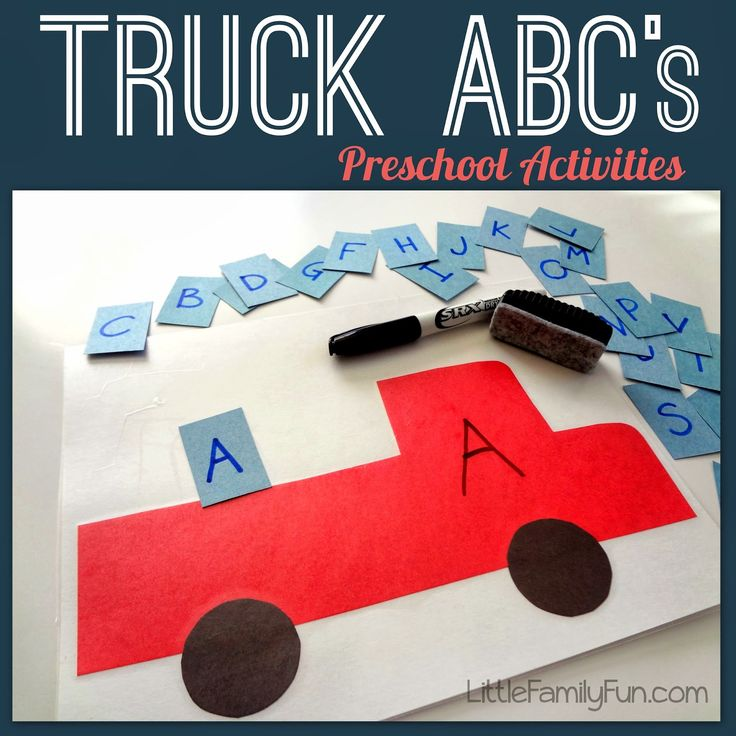 Truck activities for preschoolers! Practice writing, spelling, letter recognition, sound recognition, etc! So many fun ways to learn!