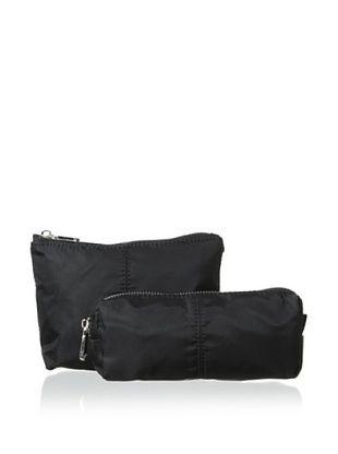 54% OFF co-lab by Christopher Kon Women's 2-Piece Nylon Cosmetic Case Set, Black