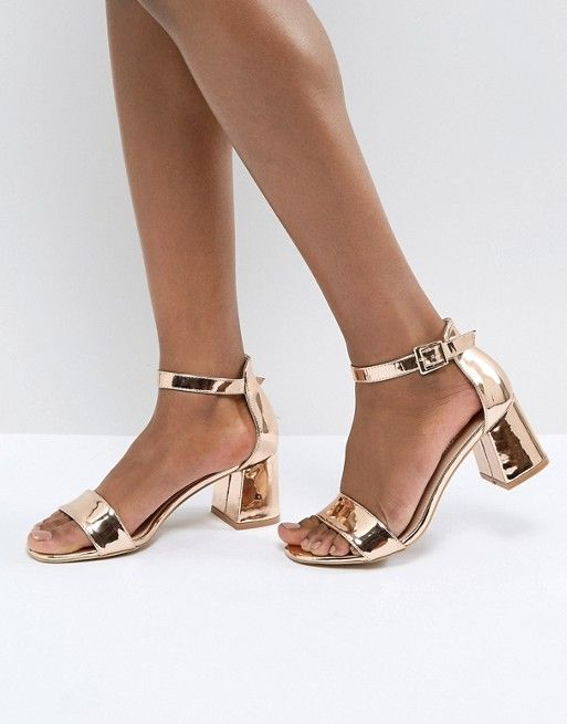 9c636a3aecaa Glamorous Barely There Mid Heeled Block Sandal in Rose Gold in 2019 ...