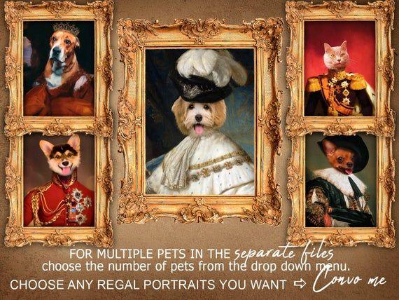 Custom Cat Portrait, Ceremonial Pet Portrait, Printable Digital Funny Gift Idea,… – Products