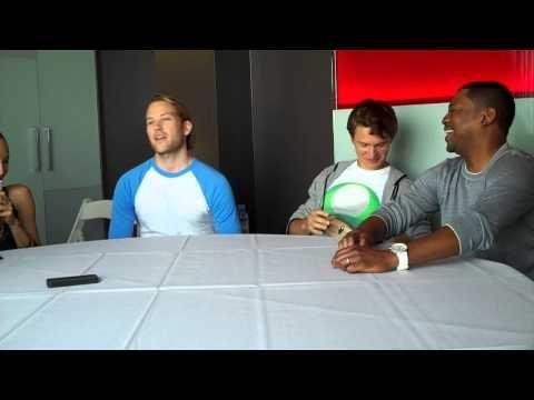 DivergentFans.com interviews Divergent cast members Ansel Elgort (Caleb), Maggie Q. (Tori), Mekhi Phifer (Max), and Ben Lamb (Edward) on July 18th, 2013 at San Diego Comic-Con.