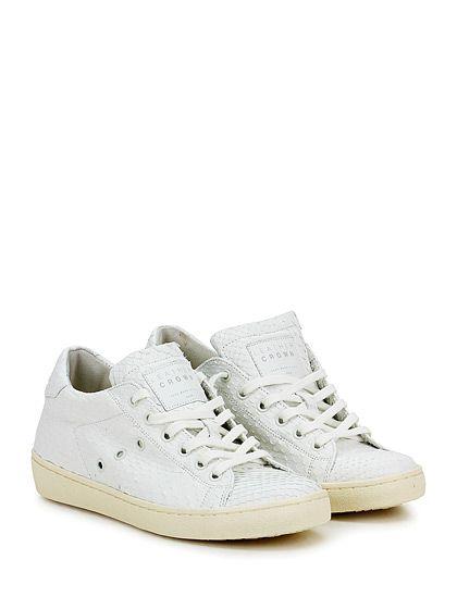 Leather Crown - Sneakers - Donna - Sneaker in pelle stampa pitone con suola in gomma. Tacco 30, platform 20 con battuta 10. - BIANCO