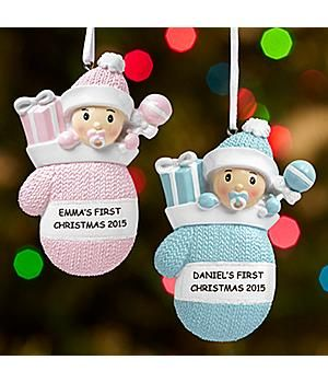 Personalized-*New*– Baby Mitten Ornament Now proud parents or grandparents can celebrate their little handful's very first Christmas! http://kittykatkoutique.com/all-new-personalized-christmas-ornaments-2015/