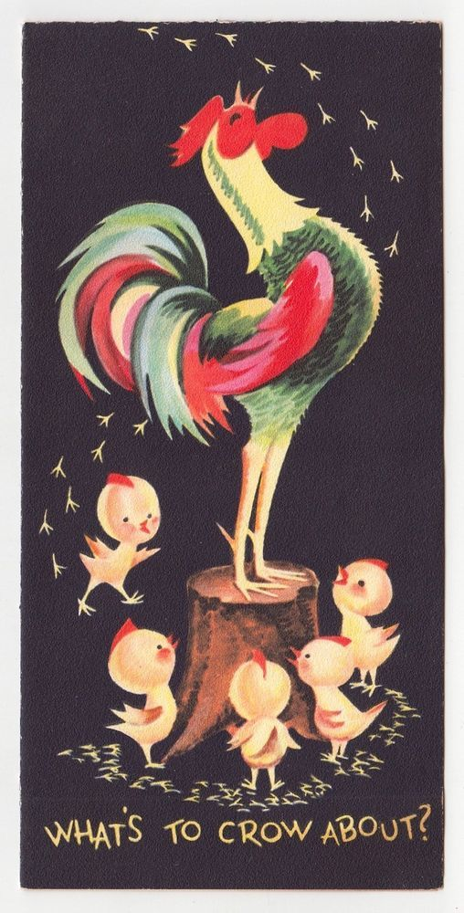 Vintage Greeting Card Birthday Rooster Crow Chicks Mid-Century