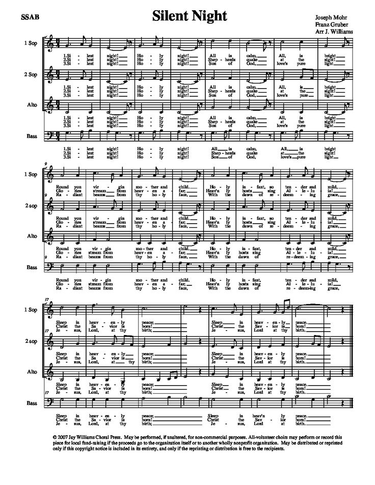 Silent night choral arrangement pdf
