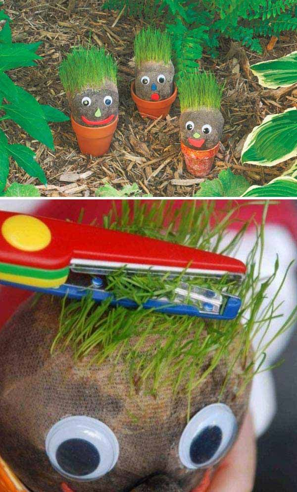 "Growing grass head is a super fun way to watch the ""hair"" grow and trim trim trimming it off. 