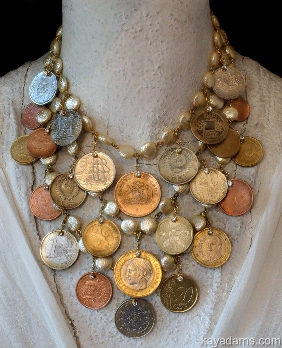 Anthill Antiques, Jewelry and Chandelier Heaven - great inspiration!  Maybe not a chunky necklace like this, but would make a pretty anklet.