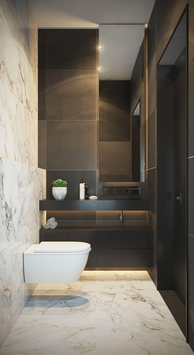 Grau Weiß Marmorboden Schwarzes Badezimmer Schmall #bathroom #style