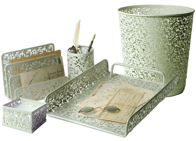 Metal Lace Waste Basket or Office Accessories from Victorian Trading Company