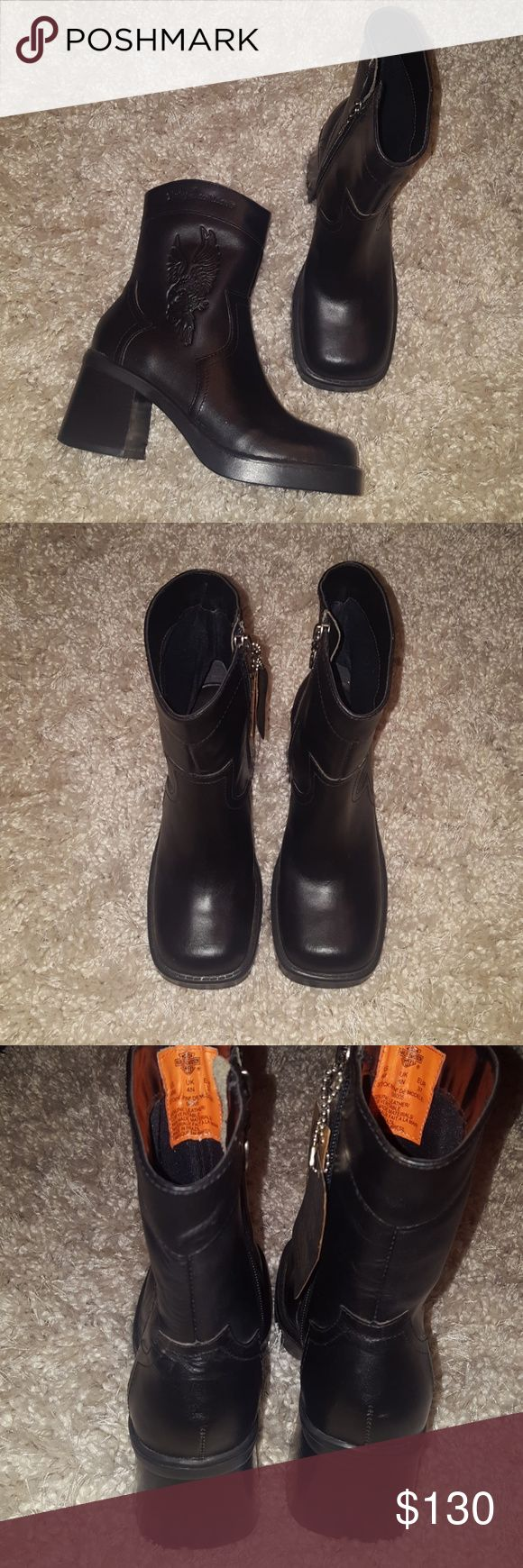"""FINAL PRICE DROP! NWT Harley Davidson Boots Ladies Brand new Harley Davidson moto boots, all leather, about a 2"""" heel, inner side zipper. 3 sizes available. Runs true to size. Harley-Davidson Shoes Combat & Moto Boots"""
