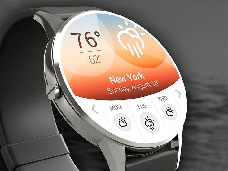 Design Concept for a Smartwatch Weather App including a 3-day forecast. –––  see the @2x version for more details