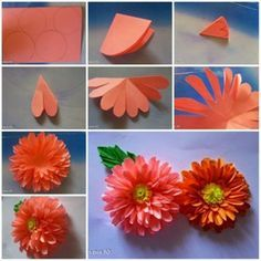 Orange Step By Step Handmade Flowers From Paper Library Decor