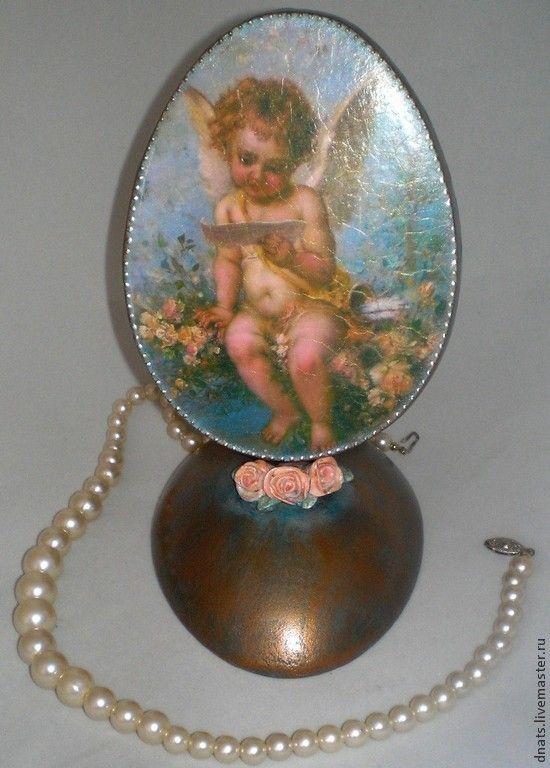 """Яйцо деревянное интерьерное """"Ангелочек"""" - пасхальное яйцо,пасхальное яйцо декупаж"""