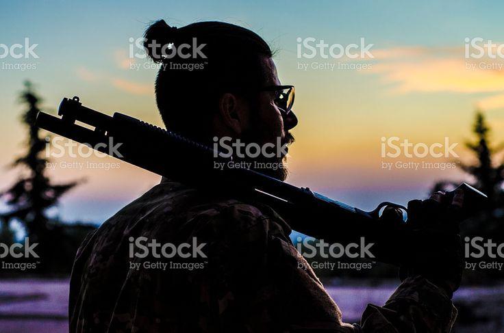 Airsoft shotgun silhouette royalty-free stock photo