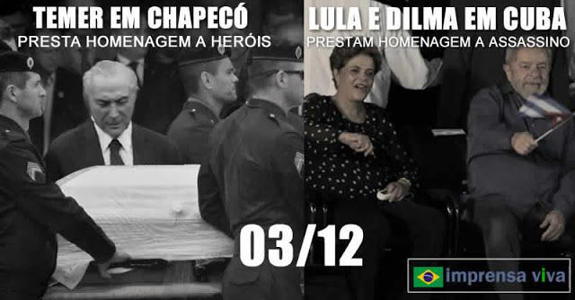 Enquanto Lula e Dilma homenageavam assassino cubano Fidel Castro, Michel Temer honrava heróis brasileiros em Chapecó   Imprensa Viva