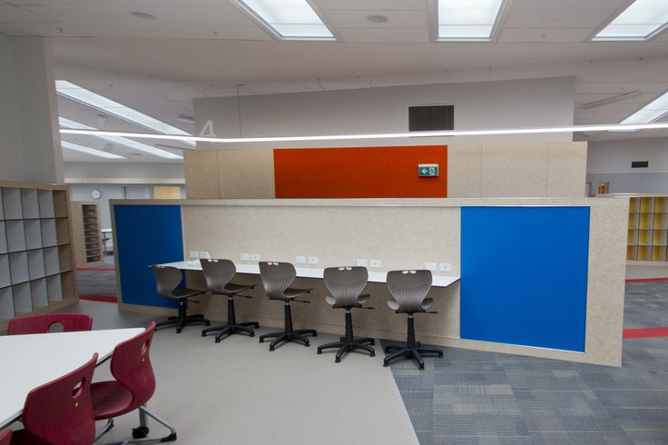 Autex Acoustics - Symphony® - Acoustic Wallcovering - Hobsonville Primary School, NZ - Colour: Chilli Red & Electric Blue - Acoustics in Education