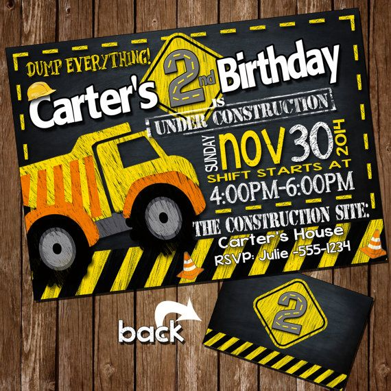 Construction birthday invitation, Construction birthday party, Chalkboard Construction party,Dumptruck Invitation, chalkboard dumptruck