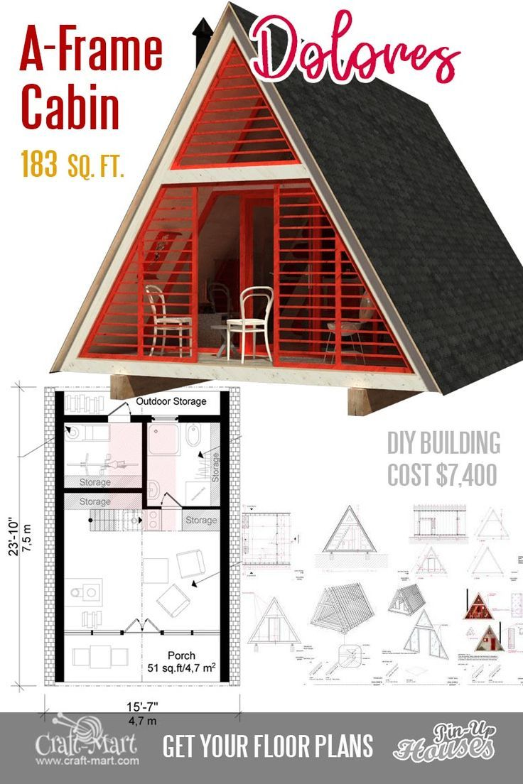 Cute Small Cabin Plans (A-Frame Tiny House Plans, Cottages, Containers) -  Craft-Mart | A frame cabin plans, Small cabin plans, Cabin floor plans