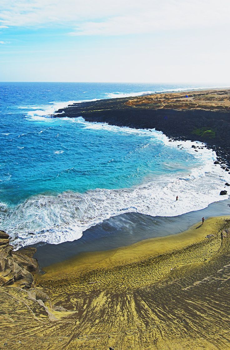 Papakōlea Beach is located on the southern tip of the Big Island and is one of four beaches in the world known for their beautiful green sand (one of two in the USA). Click pin through to post to check out more of our favorites!
