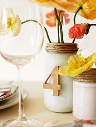 milk glass + twine tablescapes/numbers