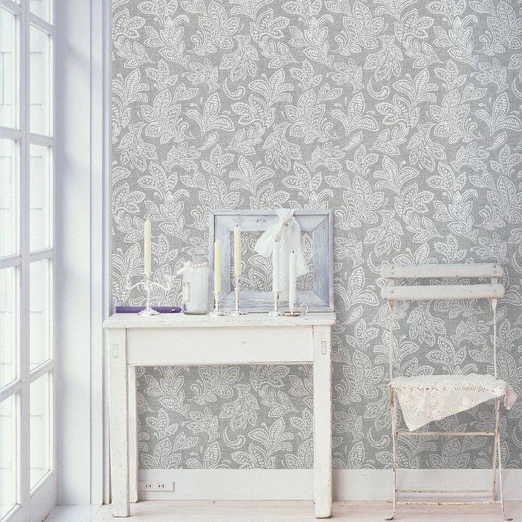 Crown Paisley Calico Leaf Soft Grey Luxury Feature Designer Wallpaper M1119