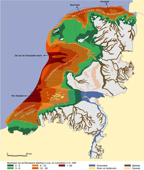 Dit is een kaartje wat laat zien hoe de Prehistorie er in Nederland uit zag.