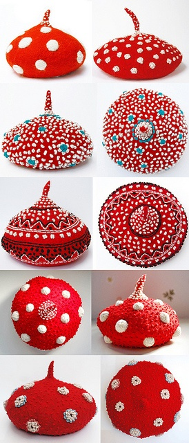 Red Embroidered beret