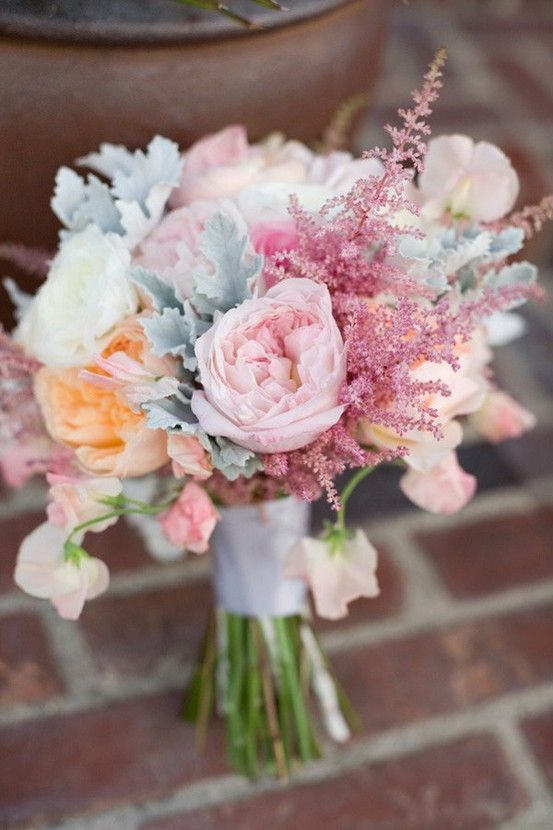 Think Spring Wedding Bouquet  The touch of Astilbe flower looks amazing in this grouping!