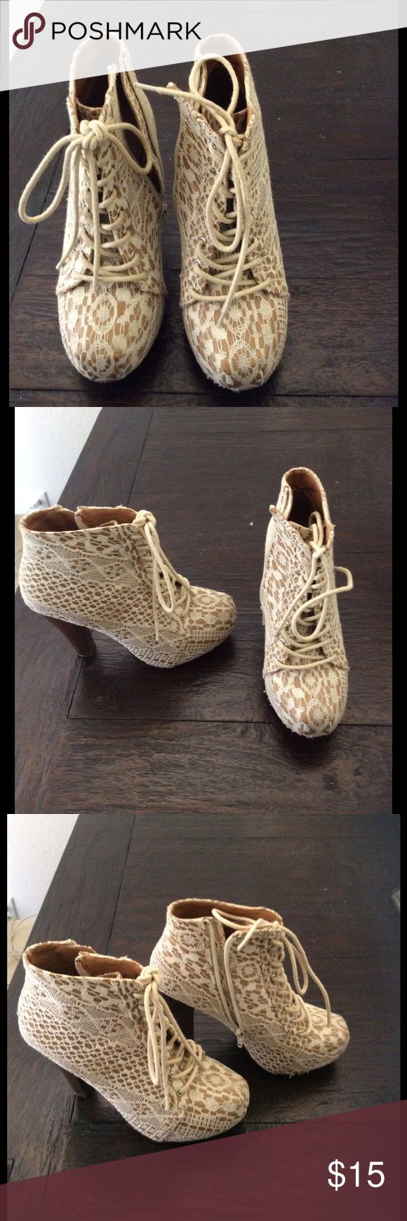 LACE BOOTIES✨✨ Gorgeous creme lace booties! In a size 6.5. Barely worn. Qupid Shoes Ankle Boots & Booties