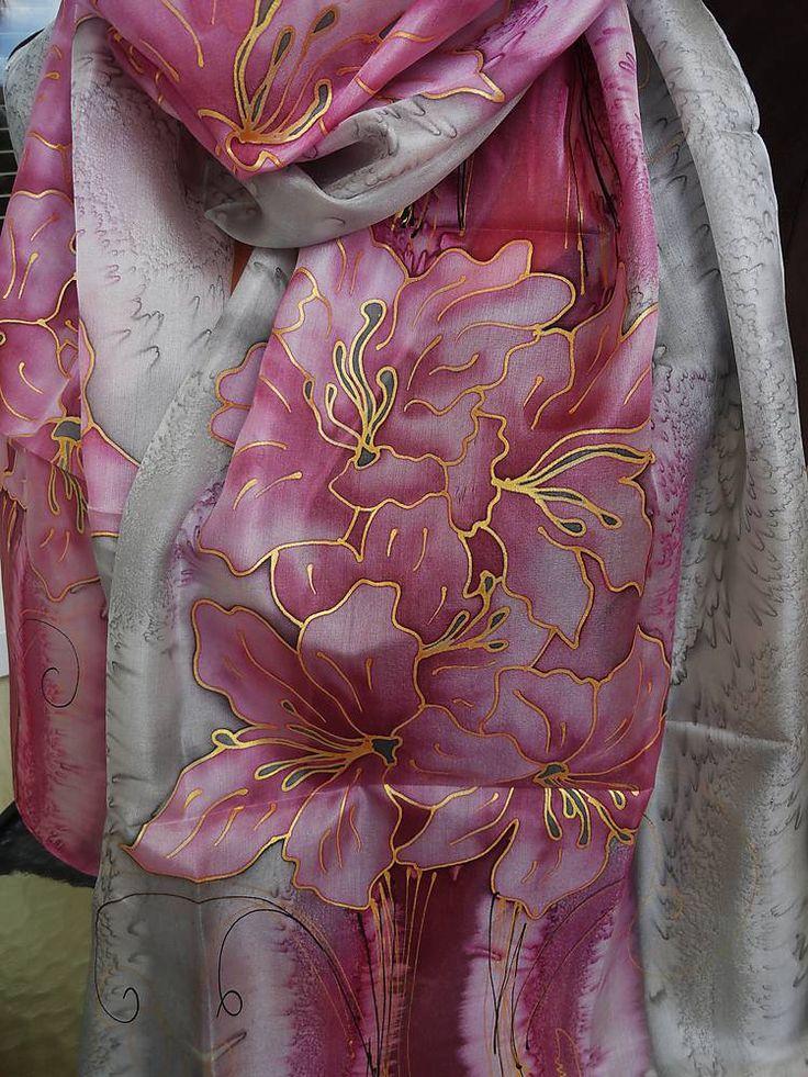 Šatky - ružovo-šedé ľalie - 5726839_